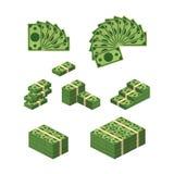 各种各样的金融法案美元现金纸钞票传染媒介集合 金钱现金堆 也corel凹道例证向量 皇族释放例证