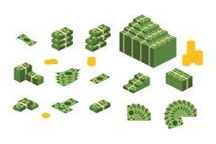 各种各样的金融法案美元现金纸钞票传染媒介集合 金钱现金堆 r 向量例证