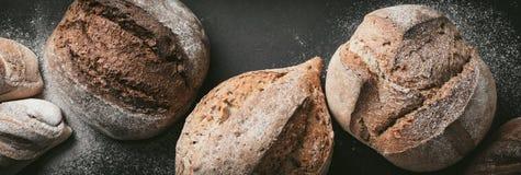 各种各样的面包选择平位置 在灰色背景的Multigrain土气面包 顶视图,拷贝空间 水平的构成 库存照片