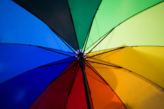 各种各样的颜色一把美丽的伞的段  库存照片