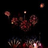 各种各样的颜色五颜六色的烟花在夜空的 库存照片