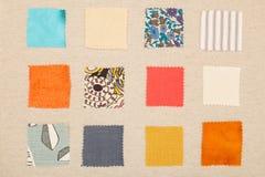 各种各样的颜色和设计织品样片在栅格 图库摄影