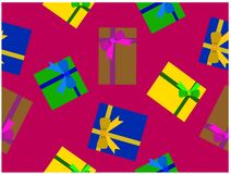 各种各样的颜色礼物盒 It's无缝的墙纸 皇族释放例证