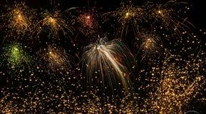 各种各样的颜色美丽的五颜六色的烟花在夜空的 图库摄影