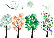 各种各样的风格化结构树 免版税库存照片