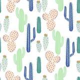 各种各样的仙人掌沙漠传染媒介无缝的样式 抽象棘手的植物自然织品印刷品 图库摄影
