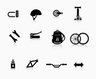 各种各样的组分和辅助部件自行车的 库存图片