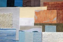 各种各样的织品样片 库存图片