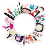 各种各样的水彩装饰化妆用品框架  构成产品 向量例证