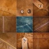 各种各样的绒面革纹理的汇集 免版税图库摄影