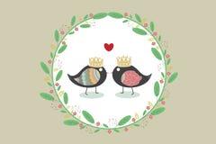 结合与花和叶子的鸟在葡萄酒背景 库存照片