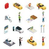 合伙使用汽车Ridesharing集合的汽车共用模式 库存例证
