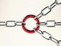 合作与链子的企业概念 混合画法 免版税库存图片