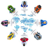 合作企业工友计划配合概念 库存照片