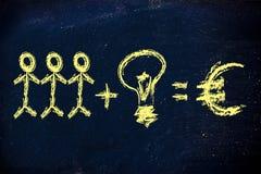 合作和想法是关键的对公司收入 免版税图库摄影
