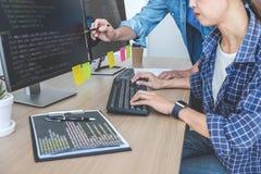 合作在开发的编程和网站的两个专业程序设计者运作软件的开发公司办公室, 免版税图库摄影