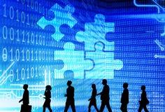 合作连接公司业务解答战略概念 库存照片
