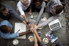 合作连接队激发灵感团结 免版税图库摄影