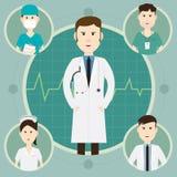 合作医护人员和小组医生在医院illus 库存照片