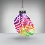 黏合剂夹子垂悬的一个五颜六色的指纹 库存图片