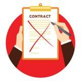 合同终止与横渡的纸 免版税库存照片
