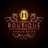 组合图案设计元素,优美的模板 书法典雅的线艺术商标设计信件餐馆的, Ro象征B身分 免版税库存图片