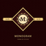 组合图案设计元素,优美的模板 书法典雅的线艺术商标设计 信件象征M 皇族的企业标志 皇族释放例证