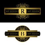 组合图案设计元素,优美的模板 书法典雅的线艺术商标设计 在标志上写字象征R,皇族的, busin B 向量例证