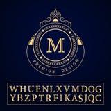 组合图案设计元素,优美的模板 书法典雅的线艺术商标设计 在皇族的,事务象征标志M上写字 向量例证