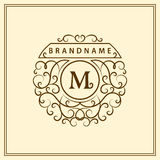 组合图案设计元素,优美的模板 书法典雅的线艺术商标设计 在皇族的,名片象征M上写字 库存例证