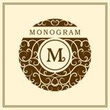 组合图案设计元素,优美的模板 书法典雅的线艺术商标设计 在皇族的,名片象征M上写字 向量例证