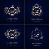 组合图案设计元素,优美的模板 书法典雅的线艺术商标设计 在象征标志B, M,皇族的, Bu R上写字 皇族释放例证