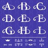 组合图案设计元素,优美的模板 书法典雅的线艺术商标设计 在象征A, B, C, D, E, F, G, H, I上写字  皇族释放例证