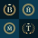 组合图案设计元素,优美的模板 书法典雅的线艺术商标设计 在象征B, H, M,皇族的, busi T上写字 皇族释放例证