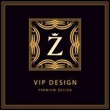 组合图案设计元素,优美的模板 书法典雅的线艺术商标设计 象征信件Z 皇族的企业标志 皇族释放例证