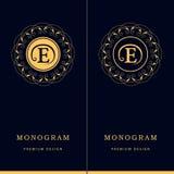 组合图案设计元素,优美的模板 信件象征标志E 书法典雅的线艺术名片的, R商标设计 库存例证