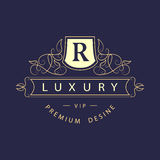 组合图案设计元素,优美的模板 典雅的线艺术商标设计 企业标志,餐馆的,皇族, Boutiq身分 向量例证
