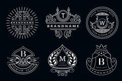 组合图案设计元素,优美的模板 典雅的线艺术商标设计 企业标志,餐馆的,皇族, Boutiq身分 皇族释放例证
