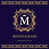 组合图案设计元素,优美的模板 典雅的线艺术商标设计 信函m 企业标志,餐馆的身分,皇家 向量例证