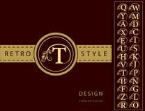 组合图案设计元素,优美的模板 典雅的线艺术商标设计 信件象征T 减速火箭的葡萄酒权威或略写法 Bu 皇族释放例证