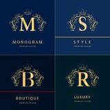 组合图案设计元素,优美的模板 典雅的线艺术商标设计 信件B, M, S, R 象征 也corel凹道例证向量 库存图片