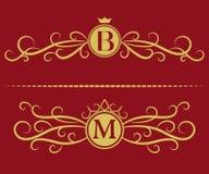 组合图案设计元素,优美的模板 典雅的线艺术商标设计 信件B, M 企业标志,餐馆的, Ro身分 库存例证