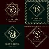 组合图案设计元素,优美的模板 典雅的线艺术商标设计 信件M, S, V, B 象征 也corel凹道例证向量 库存例证