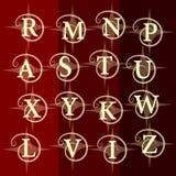 组合图案设计元素,优美的模板 典雅的线艺术商标设计 信件R, M, N, P, A, S, T, U, X, Y, K, W, L, V, I, Z 免版税库存照片