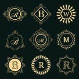 组合图案设计元素,优美的模板 典雅的线艺术商标设计 套企业标志,餐馆的,皇族身分, 皇族释放例证