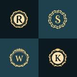 组合图案设计元素,优美的模板 典雅的线艺术商标设计 皇族释放例证