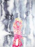 结合在冬天水彩绘画手图画的恋人美好的爱 库存照片