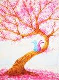 结合坐在爱护树木情人节水彩绘画下的兔子恋人 库存图片