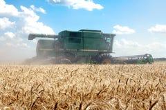 组合域收割机麦子工作 免版税库存照片