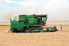 组合域收割机麦子工作 库存照片